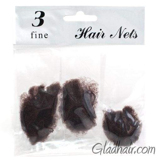 Brown Fine Mesh Hair Nets - Pack of 3