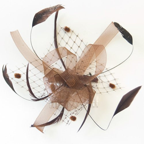 Brown Looped Ribbon and Net with Feathers Fascinator on a clear Comb