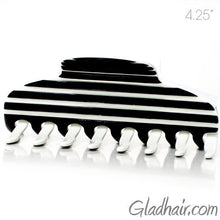 Load image into Gallery viewer, Hand Made Stripe Black and White Hair Claw