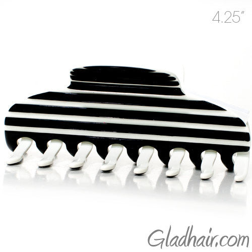 Hand Made Stripe Black and White Hair Claw