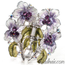 Load image into Gallery viewer, Metal Silver Web Net Style with Flowers Hair Claw with Crystals and Stones