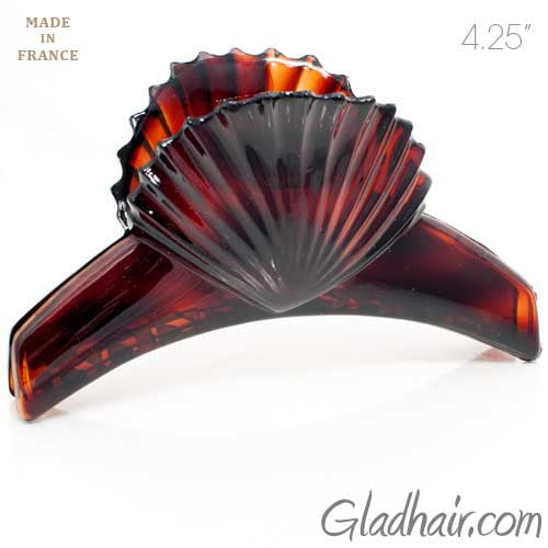 Large French Scallop Top Shell Plastic Hair Claw