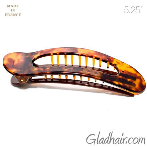 Tortoise Large Open Oval Fork Beak Salon Clip