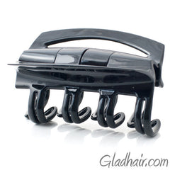 French Patented Cover Rake Black Plastic Hair Claw
