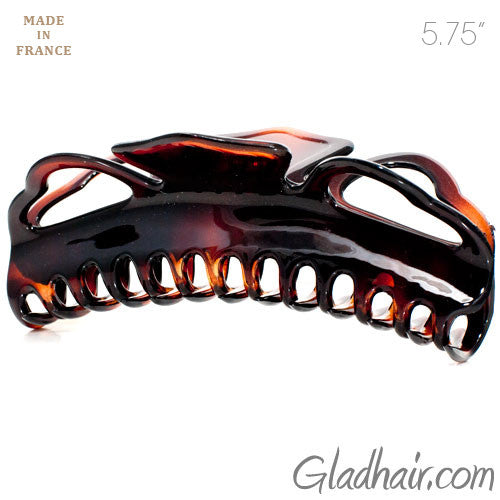 Extra Large French Tortoise Plastic Hair Clip