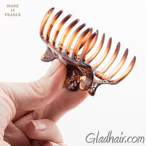 Small French Tortoise Hair Claw with Stones