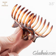 Load image into Gallery viewer, Medium French Tortoise Hair Claw with Stones