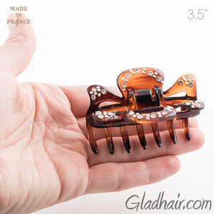 Medium French Tortoise Hair Claw with Stones