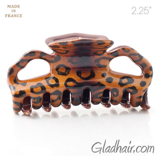 French Small Plastic Hair Claw With Leopard Pattern