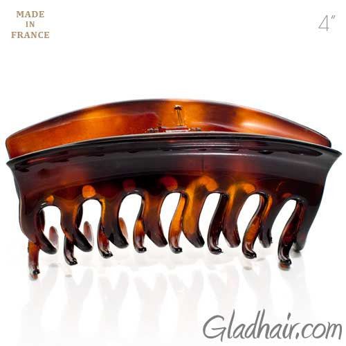 French Wave Lock Tortoise Hair Claw with Cover