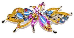 Colorful Butterfly Automatic Barrette with Swarovski Crystals