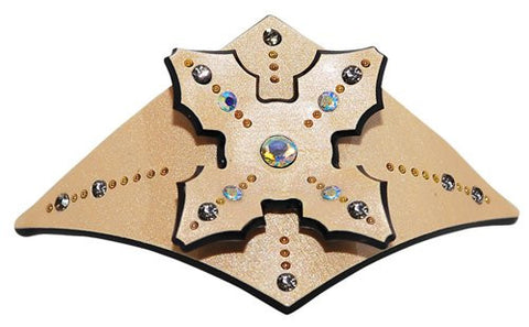 Cream Automatic Ponytail Holder with Crystal Rhinestones