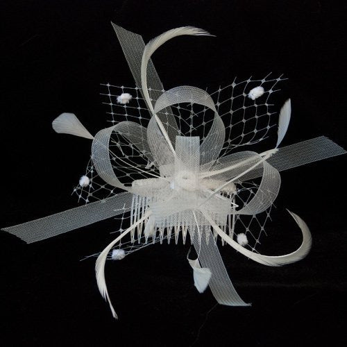 Cream Looped Ribbon and Net with Feathers Fascinator on a Clear Comb
