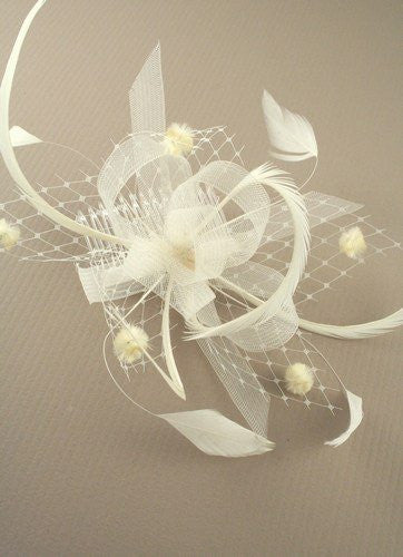 Cream Looped Ribbon and Net with Feathers Fascinator on a Clear Comb ... 676fac2414e
