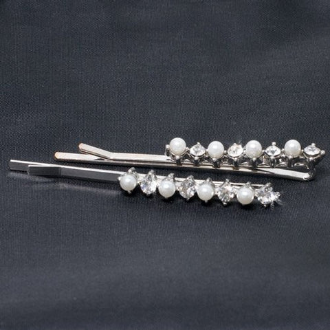 Crystal and Pearl Bead Rhodium Plated Grips - Pair