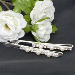Crystal and Pearl Hair Grips - Pair