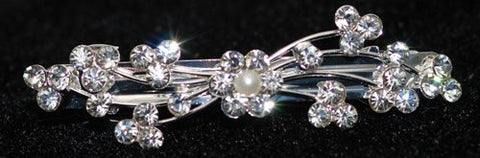 Crystal Barette with Flower and Pearl in the Middle - 7 cm