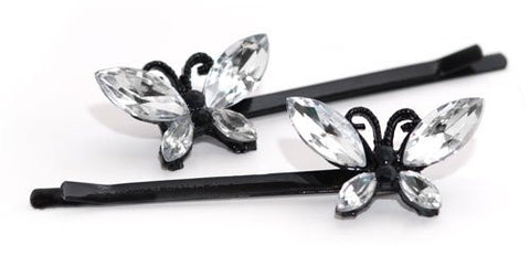 Crystal Butterflies on Black Enamel Grips - Pair