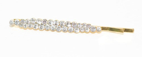 Crystal Double Row Bobby Goldtone Pin - 1 piece