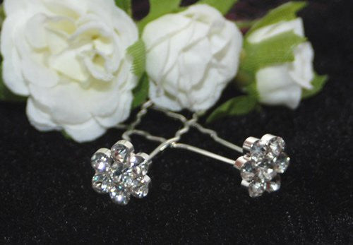 Daisy Crystal Hair Pins - Pair