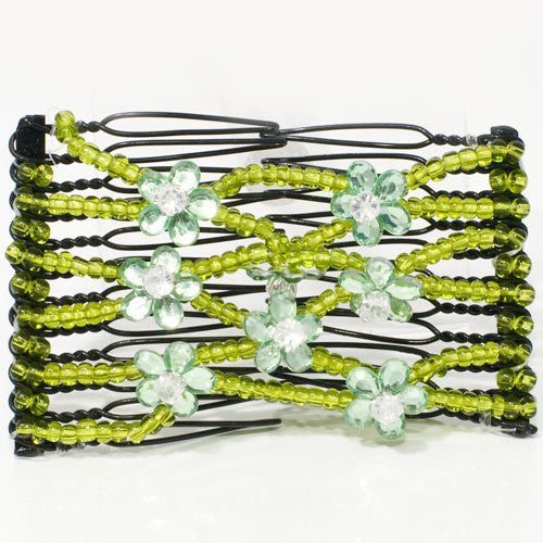 Double Comb with Beads and Flower Touch