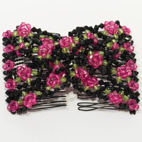 Easy Double Comb - African Butterfly with Black Beads and Colored Daisy Design