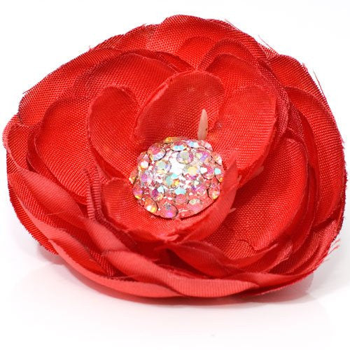 Fabric Flower with Rhinestone Center on Beak Clip - 1 piece