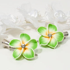 Fimo Flower on Silver Beak Clip - Pair