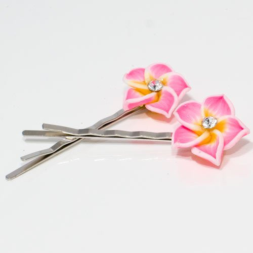 Fimo Flower on Silver Grip - Pair