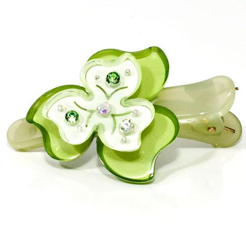 Flower Shaped Acrylic Beak Clip with Crystals - 1 piece