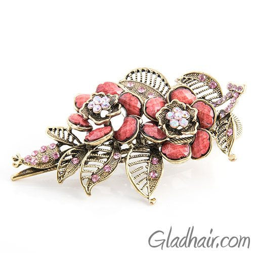 Flower Shaped Vintage Metal Beak Clip with Crystals