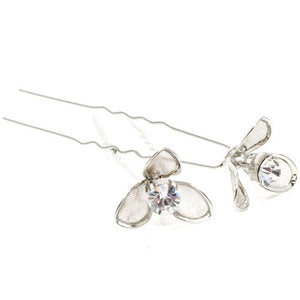 Flower Style with Crystal Center Hair Pins - Pair