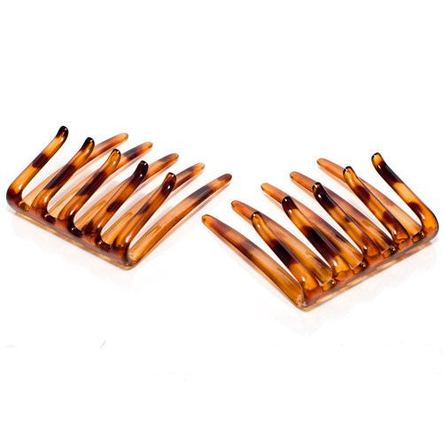 Folded Interlocking Combs Pony Tortoise Shell - Pair