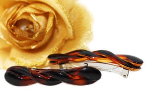 French Mini Twist Barrette Tortoise Shell - Pair