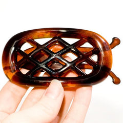 French Non Metal Tortoise Shell Oval Barrette