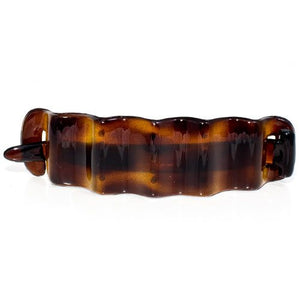 French Non Metal Tortoise Shell Wave Barrette