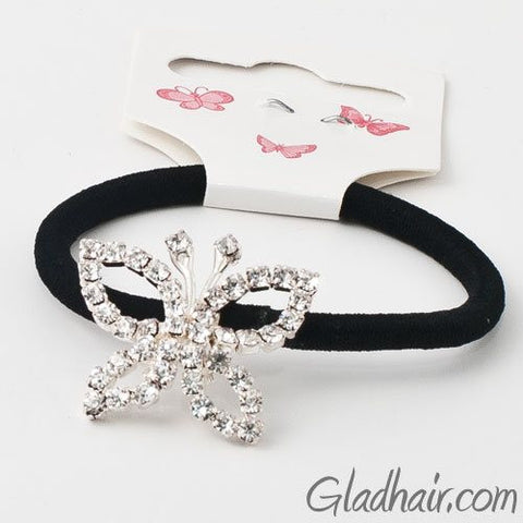 Glass Crystals with Rhodium Silver Finish Butterfly on Hair Band