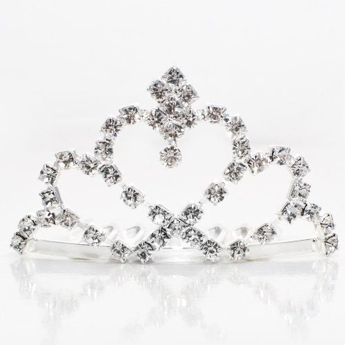 Heart Shaped Silver Colored Small Metal Tiara