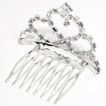 Load image into Gallery viewer, Heart Shaped Silver Colored Small Metal Tiara