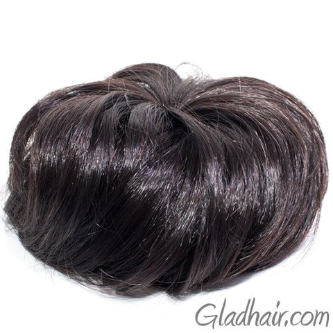 Imitation Brown Hair Bun with 2 Side Combs and Elastic Inside