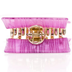 Arched Acrylic Striped Wedge Shaped Clamp with Golden Teeth