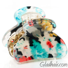 Colorful Floral Print Mini Acrylic Plastic Claw - Pair