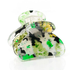 Green Floral Print Mini Acrylic Plastic Claw - Pair