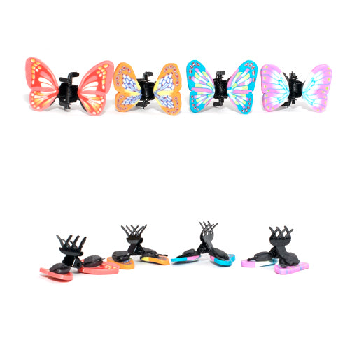 Assorted Bright Colored Fimo Butterfly Mini Clamps - Card of 4