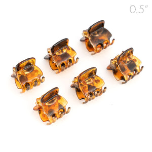 Mens Mini Brown Plastic Clamps for Men Long Hair - Set of 6