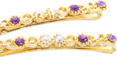 Glit Filigree Grips with Purple Colored Crystals - Pair