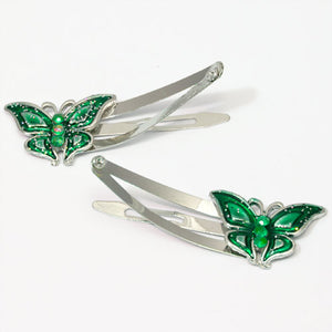 Epoxy Green Butterfly Shaped Metal Sleepies - Pair