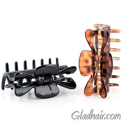 Tortoise and Black Plastic Hair Clamps - Pair