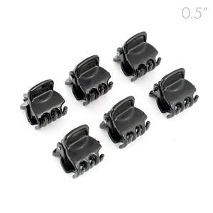 Mens Mini Black Plastic Clamps for Men Long Hair - Set of 6