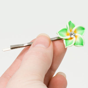 Green Fimo Flower on Silver Grip - Pair